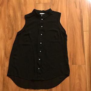 H&M Sheer Sleeveless Button Up Collared Shirt